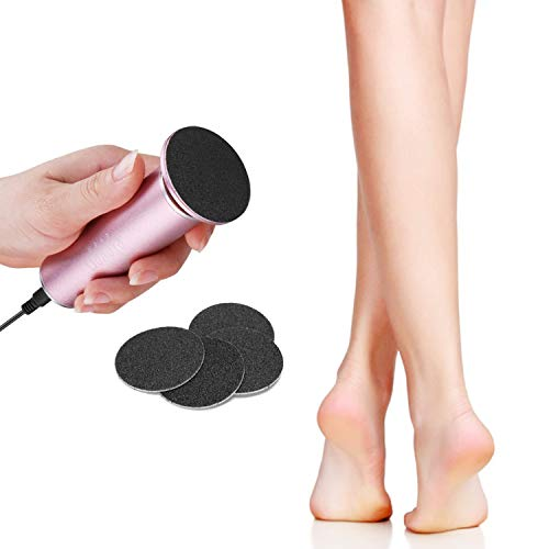 FATUXZ Quitar callos eléctrico con 60 discos de papel de lija de repuesto, lijadora profesional para pedicura para pies muertos agrietados de piel dura callos para pies afeitadora electrónica de callo