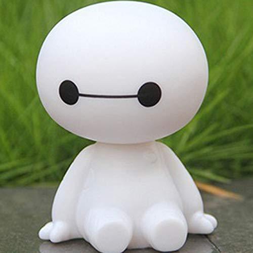 TYSYA Auto-Verzierung Netter Kopf schütteln Baymax Roboter-Puppe Automotive Dekoration Auto-Innenraum Armaturenbrett Wackelkopf-Spielzeug Zubehör Geschenk, Farbname: Weiß (Color : White)