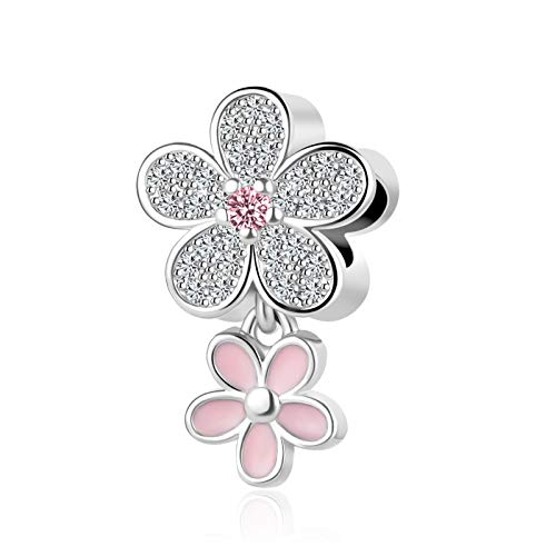 SBI Jewelry Pink Daisy Flower Charm for Bracelet Flowers Dangle Charm Gift for Daughter Best Friend Sister Birthday