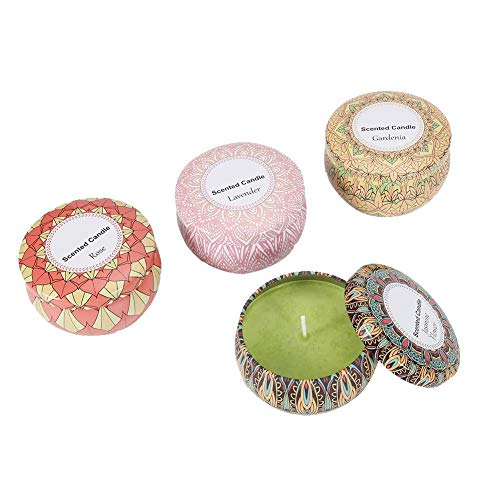 Set de Velas Perfumadas - Aceite de Cera de Soja - Aroma de Lavanda + Aroma de Gardenia + Aroma de Rosa + Jazmín - Vela de Aromaterapia Romántica - Vela de Decoración Sin Humo