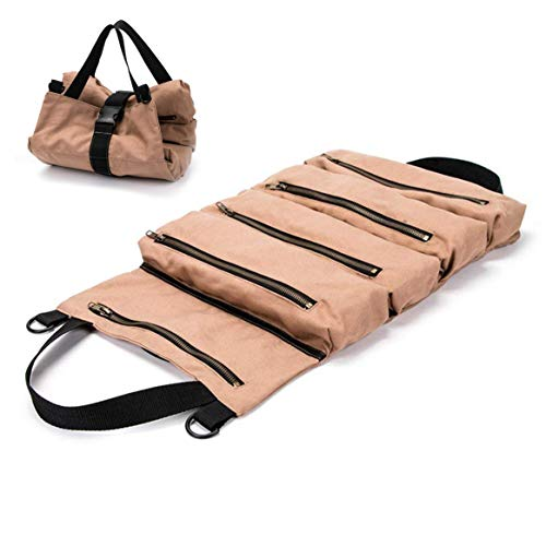 Super Tool Roll Up Bag/pouch,durable Canvas Wrench Tool Roll Up Pouch With 5 Zipper Pockets,car Back Seat Organizer/Khaki