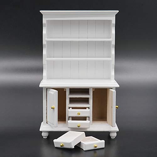 Odoria 1/12 Miniatur Möbel Buffetschrank Küchenregal Holz Weiß Für Puppenhaus Möbel Zubehör