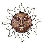 Metal Wall Art Sun Decor - Metal Sun Face With Rays - Indoor Outdoor Metal Sun Wall Art