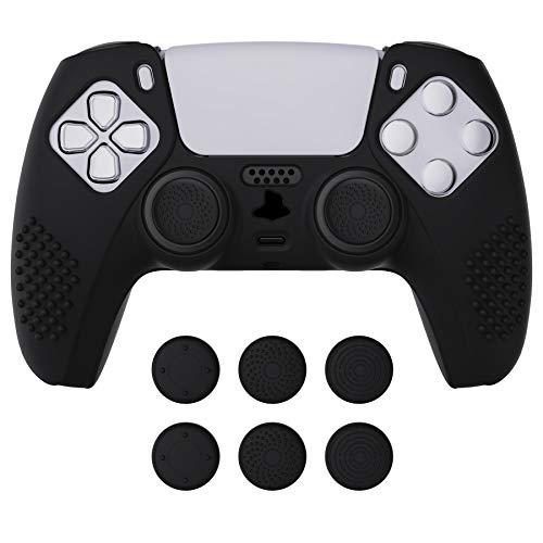 eXtremeRate PlayVital Hülle für ps5 Controller,Case Anti-Rutsch Schutzhülle Griffe Skin,6 Stück Stick Aufsätze für Playstation 5 Controller(3D Noppen Edition,Schwarz)