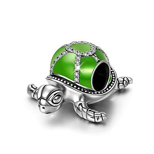NINAQUEEN Sea Turtle Mom Charms Fits Charms Bracelets Sterling Silver Bead Dangle Birthday Valentines Mothers Day Christmas Gifts for Women Her Wife Girlfriend Graduation Animal Green