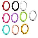 1PC Silikon Wedding Ring Thin stapelbare Geflochtene Gummi Wedding Bands bequemer weicher Finger-Ring 3mm strapazierfähiger Ring für Mann und Frauen (No.9)