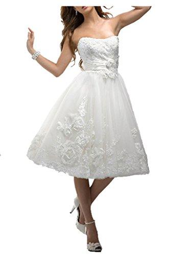 Victory Bridal Vintag Spitze Traegerlos Damen Kurz Hochzeitskleider Brautmode Brautkleider Wadenlang Festlich-40 AWeiss