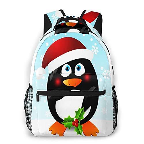 Rucksack Männer Und Damen, Laptop Rucksäcke für 14 Zoll Notebook, Penguin Holding Holly Beeren Kinderrucksack Schulrucksack Daypack für Herren Frauen