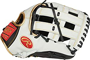 Rawlings Encore Youth Baseball Glove, Black, White, Gold, 12.5 inch