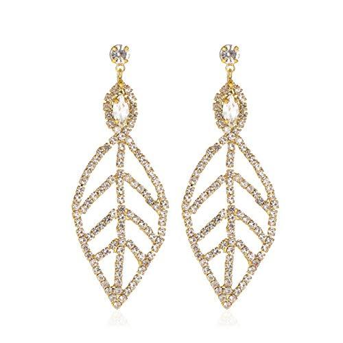 Ruby569y Pendientes colgantes para mujeres y niñas, moda mujer hoja hueca completa Rhinestone largo pendiente pendiente pendiente pendiente de la oreja joyería - oro