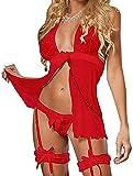 TBSCWYF Encaje Lencería Conjunto Mujer Ropa de Dormir Camisón Suave Frente Abierto Camisón Mini Vestido con Cuello Halter Conjuntos (Rojo)