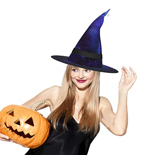 Blue Galaxy Halloween Witch Hat LED Light Cosplay Party Ornament
