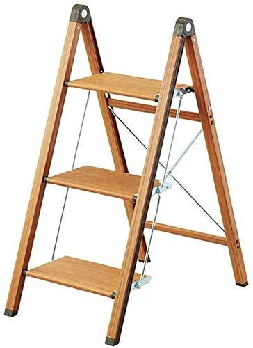 CHGDFQ Taburete multifuncional plegable de 2/3 niveles de madera para escaleras, soporte para plantas, para fotografía, aleación de aluminio, escalera de espiga, estante decorativo (color: A)
