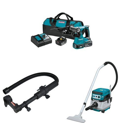 Fantastic Prices! Makita XRH01T 18V LXT Brushless 1-Inch Rotary Hammer Kit, 193472-4 Dust Extraction Attachment, XCV07ZX 18V X2 LXT (36V) Brushless 2.1 Gallon HEPA Filter Dry Dust Extractor
