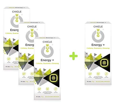 OFERTA 3+1 WUG Energy+ Chicle Ideal para Deportes Extremos, Cafeína, Guaraná, Ginseng, Sabor Menta, Pack 4 cajas (4 x 10 uds)