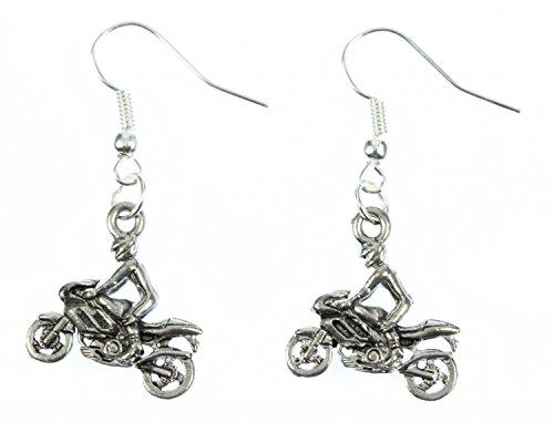 Miniblings Motorradfahrer Ohrringe Motorrad Kraftrad Fahrer Biker silb - Handmade Modeschmuck I Ohrhänger Ohrschmuck versilbert