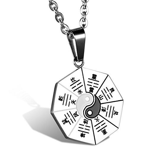 JewelryWe Colgante de Ying Yang Taichi Collar de Hombre, Amuleto Colgante de Acero Inoxidable Collar de Buena Fortuna, (Plateado)