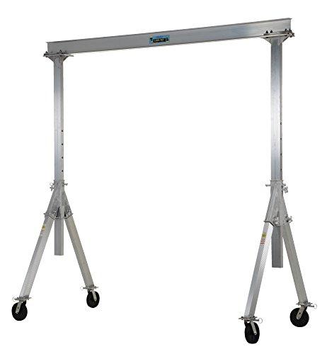 Vestil AHA-2-8-8 Aluminum Adjustable Gantry Crane, 2000 lb. Capacity, 8' Overall Beam, 96