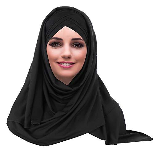 YOFASEN Sombrero Musulmán Slouchy - Mujeres Bufandas Islámicas Hermosa Hijab Beanie Gorro Shawl Pañuelo en la Cabeza, Negro, Talla única