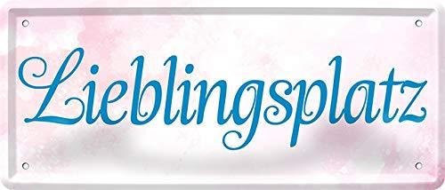 """Blechschilder Bonito mensaje en alemán """"Lieblingsplatz"""", cartel decorativo de metal, idea para regalo, retro, cocina, salón, dormitorio, vintage, divertido regalo para cumpleaños o Navidad, 28 x 12 cm"""