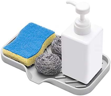 SUBEKYU Silicone Sponge Holder Countertop Kitchen Soap Tray Storage Tray for Dish Soap Brush product image