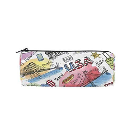 Federtasche New York Doodle Amerika-Flagge, Federmappe Stift Reißverschluss Tasche Halter Make-up Pinsel Tasche für Schule Arbeit Büro