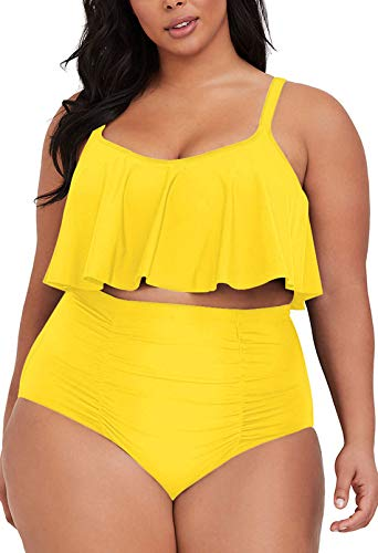 Sovoyontee Women's 2 Piece Plus Size High Waisted Swimsuit Bathing Suit Bright Yellow 4XL