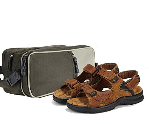 MarsRoad Men's Sandals Size 6 Leather Open Toe Outdoor Sandals with a Toiletry Bag for Men Large Capacity Brown