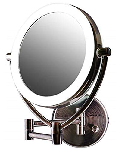 Ovente Wall Mount Lighted Makeup Mirror 7.5 Inch 1X 10X Magnifier 360° Double Sided Extendable Reach Acrylic Edge Dimmable LED Battery USB Adapter Operated Circle Large Antique Brass MLW75AB1X10X