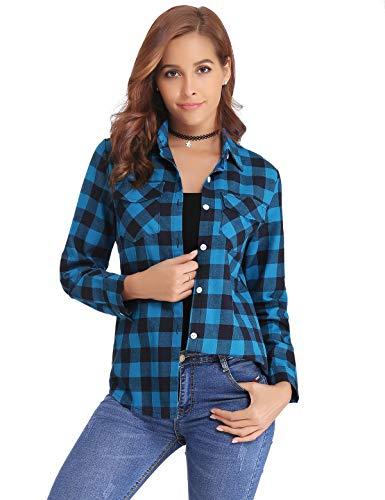 Aibrou Camisa de Cuadros para Mujer Algodón Blusas Franela de Manga Larga Casual Clásica con Botones Camisas a Cuadras para Primavera Otoño Invierno (Azul  L)
