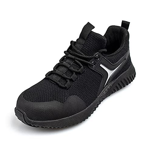 Aingrirn Zapatos de Seguridad Hombre Mujer Trabajo Cómodas, Punta de Acero Ultraligero Transpirables Calzado de Seguridad Unisex (Color : Black, Size : 47 EU)