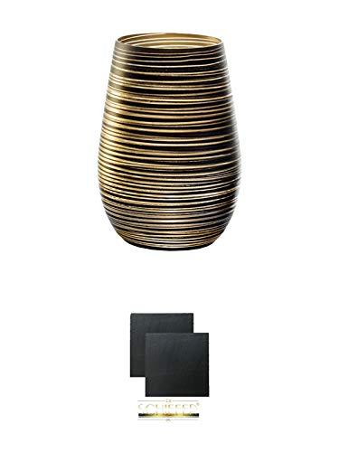 Stölzle Twister Gold Becher/Cocktailglas 1 Stück in gold - 3525112 + Schiefer Glasuntersetzer eckig ca. 9,5 cm Ø 2 Stück