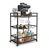 Industree 3-Tier Bar Cart with Wine Rack, Elegant Rustic Mobile Kitchen Cart with Storage, Microwave Cart, Coffee Cart, Wine Cart, Industrial Vintage Style Wood Metal Home Bar & Serving Cart