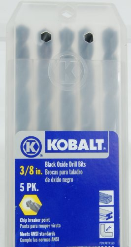 "Kobalt 5-pack 3/8"" Black Oxide Twist Drill Bits"