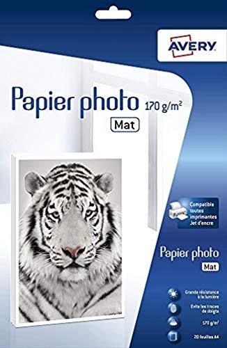 Avery–2585–20hojas de papel fotográfico Premium 170g/m² A4–impresión de inyección de tinta–mate–blanco