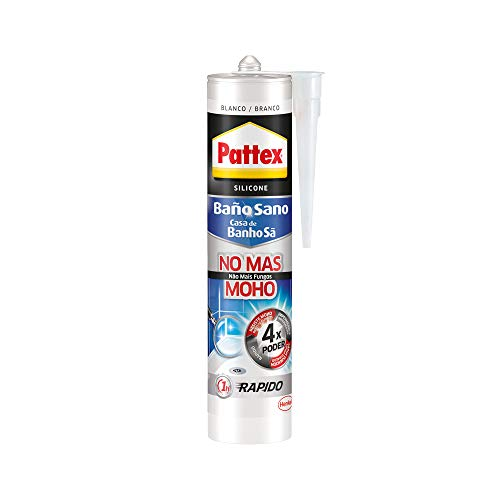 Pattex 1994664 Sano No Más Moho, antimoho e Impermeable, Blanca Duradera para Cocina y baño, Resistente Silicona Sanitaria, 1 Cartucho x 280 ml