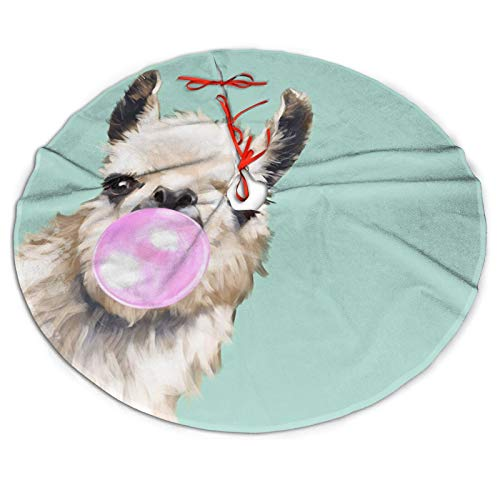 NiWCGP Cute Pink Llama Christmas Tree Skirt, 36 Inches Tree Skirts for Party Holiday Decorations Xmas Tree Mat Ornaments Indoor Outdoor