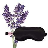 Kitsch Lavender Weighted Satin Eye Mask, Softer Than Silk, Adjustable Eye Mask for Sleeping, Satin Blindfold (Black)