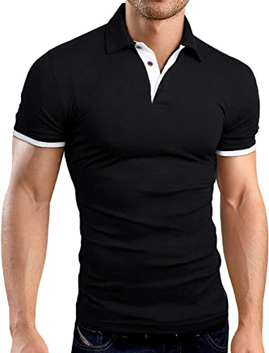 KUYIGO Men's Short Sleeve Polo Shirts Casual Slim Fit Basic Designed Cotton Shirts Large Black