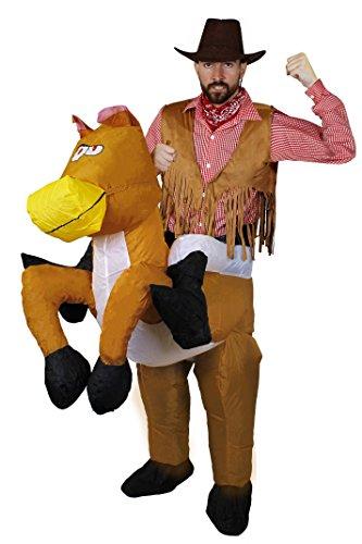 I LOVE FANCY DRESS LTD Cowboy+Pferd KOSTÜM VERKLEIDUNG= AUFBLASBARES Pferde Unterteil= ERHALTBAR IN 5 VERSCHIEDENEN GRÖSSEN + SCHWARZEM Wildleder AUSEHENDER Cowboy Hut=SMALL