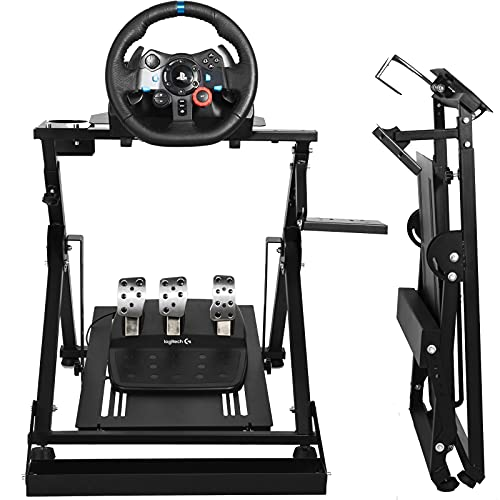 Minneer Steering Racing Wheel Stand For Fixing Gaming Chair Fit For Logitech G25/G920/G923/Fanatec/Thrustmaster Foldable &Tilt-Adjustable &Fixed Race Seat Driving Simulator Cockpit. Chair Not Included