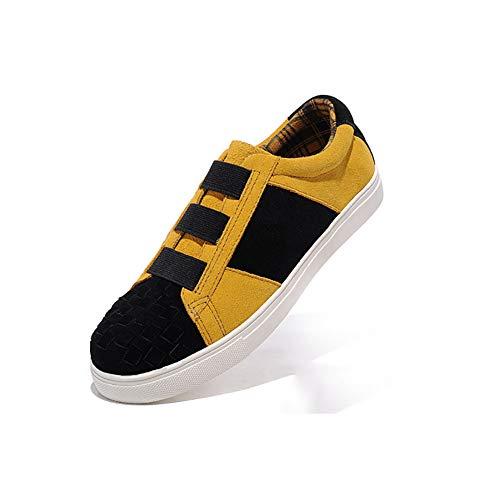Herrenschuhe, Mode Paare Schuhe, Canvas/Tüll Frühling/Herbst Comfort Sneakers Wanderschuhe, Leder Flache Loafers, Weizen Gelb (Farbe : Mehrfarbig, Größe : 41)
