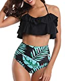 Tempt Me Women Two Piece Ruffled Swimsuit High Waisted Bikini Set Green Leaf XS