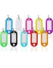Llaveros con Etiqueta Plástico,Etiquetas de Colores Transparentes 50 Pack Llavero de Identificación con Ventana Etiquetas para Hotel Escuela de Oficina EquipajeHogar 10 Colores