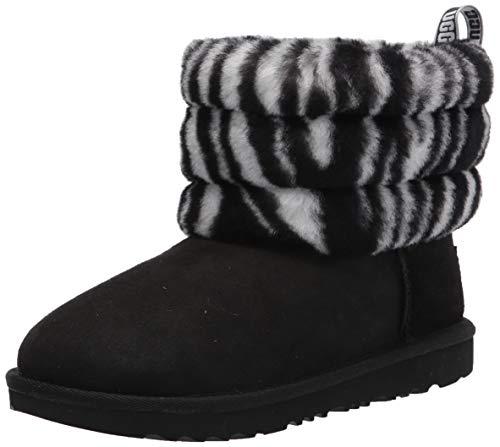 UGG Mädchen K Fluff Mini Quilted Zebra Klassische Stiefel, Black/White, 32.5 EU