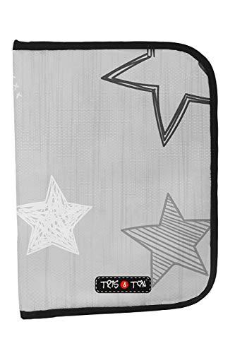 Tris&Ton Portadocumentos para bebé, niño y niña (Tris y Ton) (Gray Stars)