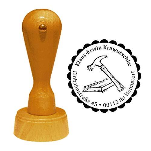 Stempel adresstempel « TAFELKAMERMANN » diameter ca. Ø 40 mm - met persoonlijk adres, motief en sierrand - beroep schoonmakers ambachtslieden