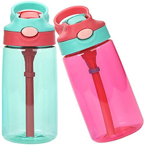 Botella de Agua para Niños,2 piezas Botella Agua con Pajitas,480ml Botella a prueba de Fugas,Sin BPA Botella Infantil con Pajita a Prueba de Fugas para Colegio,Viaje,Deporte (Verde y rojo)