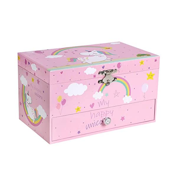 """SONGMICS Unicorn Ballerina Jewelry, Music Box with Pullout Drawer, Ring Slots and Divided Compartments, 7.5""""L x 4.3""""W x… 3"""