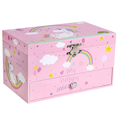"""SONGMICS Unicorn Ballerina Jewelry, Music Box with Pullout Drawer, Ring Slots and Divided Compartments, 7.5""""L x 4.3""""W x 4.4""""H, Pink Hawaii"""